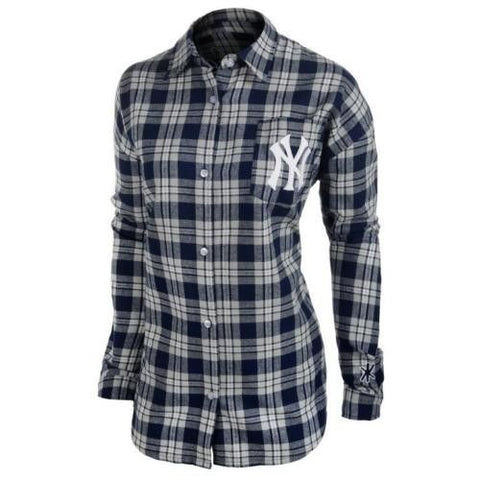 New York Yankees Women Wordmark Long Sleeve MLB Flannel Shirt by Klew