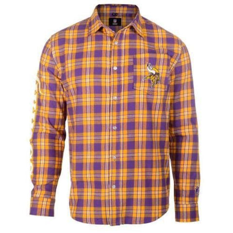 Minnesota Vikings Wordmark Long NFL Sleeve Flannel Shirt By Klew