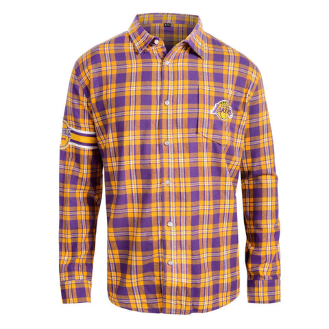 LA Lakers Wordmark Long NBA Sleeve Flannel Shirt By Klew