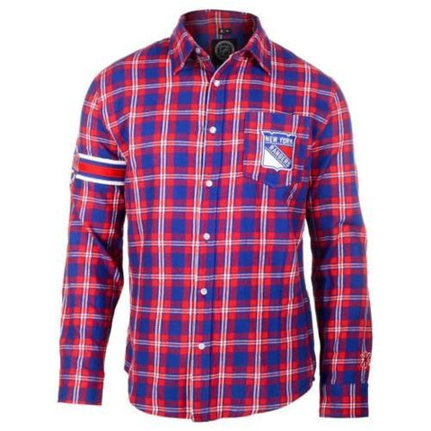 New York Rangers Wordmark Long Sleeve NHL Flannel Shirt By Klew