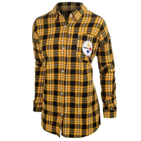 Pittsburgh Steelers Wordmark Long Sleeve Women's NFL Flannel Shirt by Klew