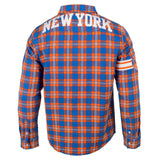 New York Knicks Wordmark Long Sleeve Men's NBA Flannel Shirt by Klew