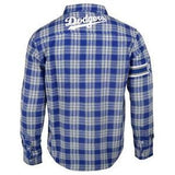Los Angeles Dodgers Wordmark Long MLB Sleeve Flannel Shirt by Klew
