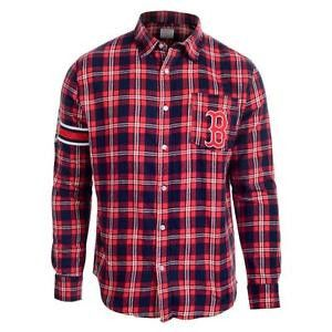 Boston Red Sox Wordmark Long Sleeve MLB Flannel Shirt by Klew