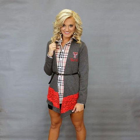 Texas Tech Raiders Women's Official NCAA Laser Trim Color Block Cardigan