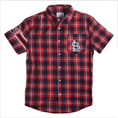 St Louis Cardinals MLB Wordmark Short Sleeve Flannel Shirt by Klew