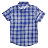 Los Angeles Dodgers MLB Wordmark Short Sleeve Flannel Shirt by Klew