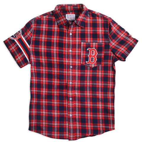 Boston Red Sox Wordmark Short Sleeve MLB Flannel Shirt by Klew