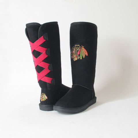 "Crystal Logo ""Victor Boots"" For Blackhawks Fans"