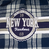 New York Yankees MLB  Wordmark Short Sleeve Flannel Shirt by Klew