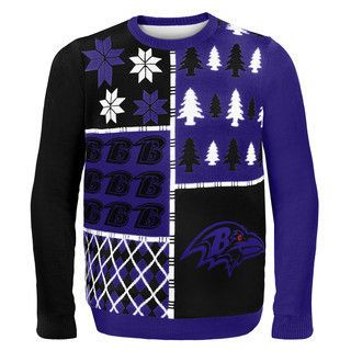 Baltimore Ravens Official NFL Busy Block Ugly Sweater by Klew