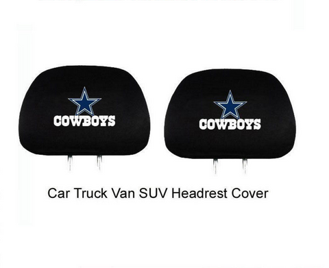2pc Set NFL Cowboys Car Truck SUV Van Headrest Head Rest Covers
