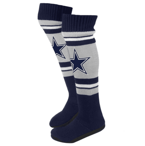 Dallas Cowboys NFL Womens Ladies Plush Knit Knee High Boot Slippers