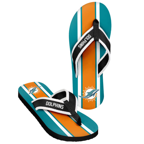 Miami Dolphins Official NFL Men's Contour Stripe Flip Flops