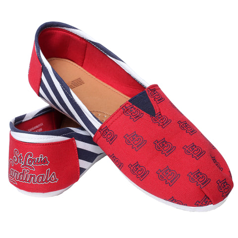 STL Cardinals Official MLB Stripe Canvas Shoes