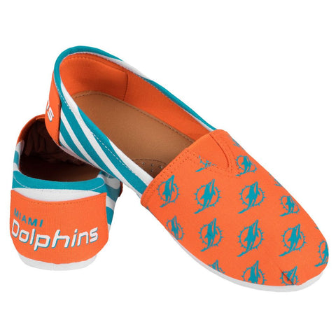 Miami Dolphins Official NFL Stripe Canvas Shoes