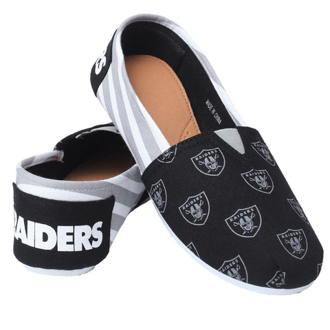 Oakland Raiders Official NFL Stripe Canvas Shoes