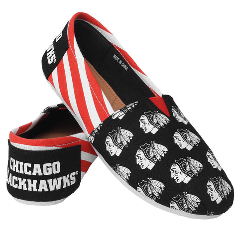 Chicago Blackhawks Official NHL Stripe Canvas Shoes