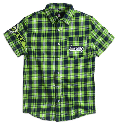 Seattle Seahawks Wordmark Short Sleeve Flannel Shirt by Klew