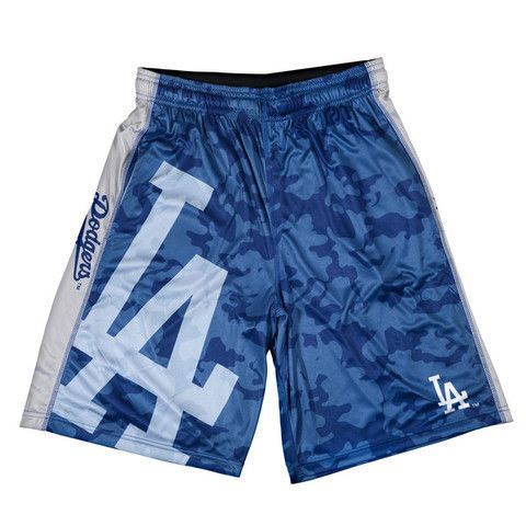 LA Dodgers Official MLB Big Logo Camo Shorts