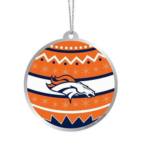 Denver Broncos Official NFL Metal Ornate Ball Ornament