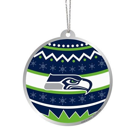 Seattle Seahawks Official NFL Metal Ornate Ball Ornament
