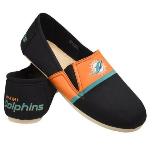 Miami Dolphins Official NFL Stripe Canvas Shoes - Men
