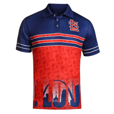 St. Louis Cardinals Official MLB Raglan Skyline Polo