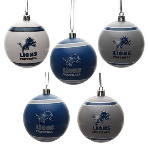 Detroit Lions Official NFL 5 Pack Shatterproof Ball Ornament