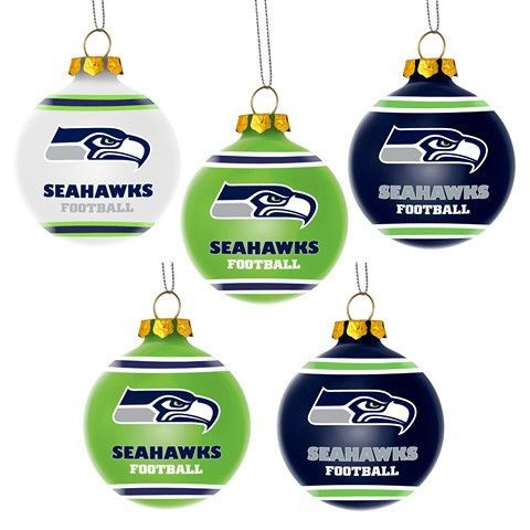 Seattle Seahawks Official NFL 5 Pack Shatterproof Ball Ornament