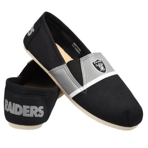 Oakland Raiders Official NFL Stripe Canvas Shoes - Men