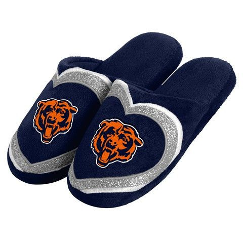Chicago Bears Official NFL Womens Glitter Slide Slippers