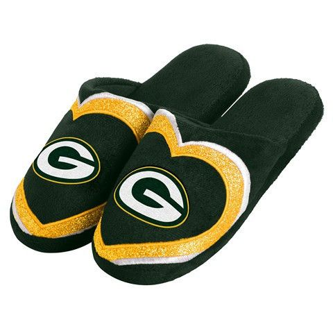 Green Bay Packers Official NFL Womens Glitter Slide Slippers