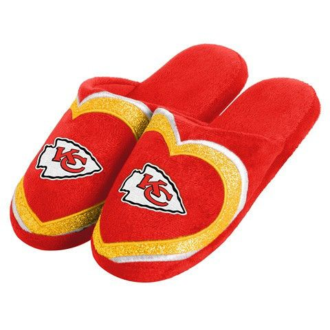 Kansas City Chiefs Official NFL Womens Glitter Slide Slippers