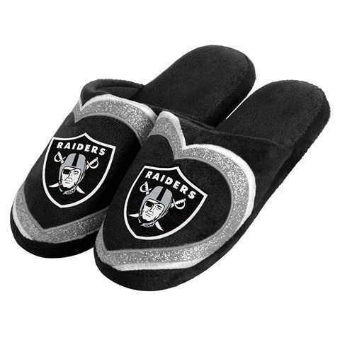 Oakland Raiders Official NFL Womens Glitter Slide Slippers