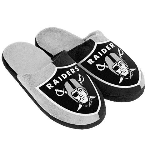 Oakland Raiders Official NFL Youth 8-16 Split Color Slide Slipper