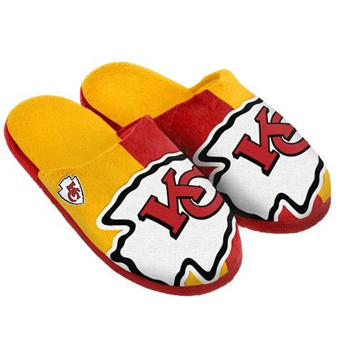 Kansas City Chiefs Official NFL Split Color Slide Men's Slippers