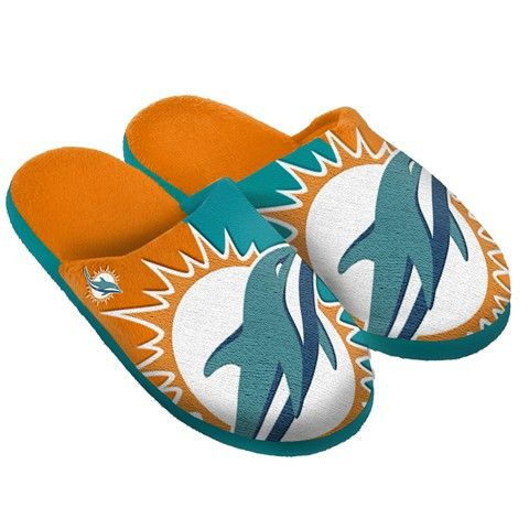 Miami Dolphins Official NFL Split Color Slide Men's Slippers