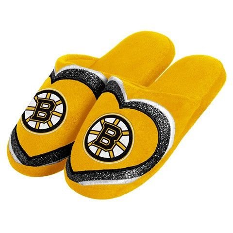 Boston Bruins Official NHL Womens Glitter Slide Slippers