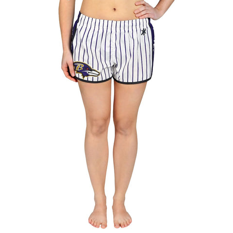Baltimore Ravens Official NFL Womens Comfy Pin Stripe Shorts
