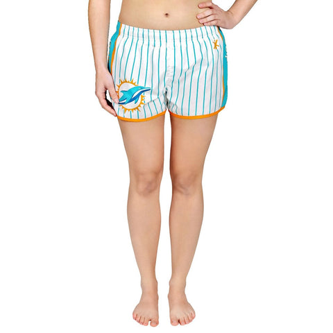 Miami Dolphins Official NFL Womens Comfy Pin Stripe Shorts