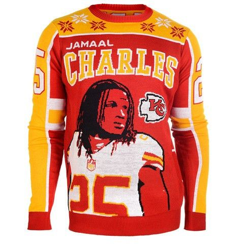 Kansas City Chiefs Charles J. #25 Official NFL 2015 Player Ugly Sweater