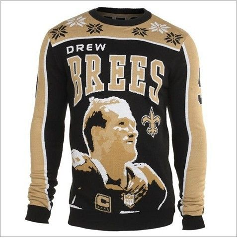 New Orleans Saints Brees D. #9 Official NFL 2015 Player Ugly Sweater