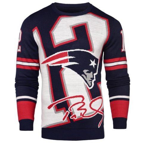 New England Patriots NFL Tom Brady #12 Loud Mens Player Sweater