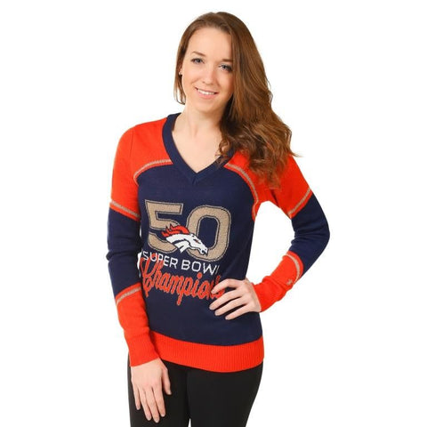 Denver Broncos Super Bowl 50 Champions Official NFL Womens V-Neck Sweater