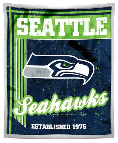 "Seattle Seahawks Mink Sherpa Official NFL Throw 50"" x 60"""