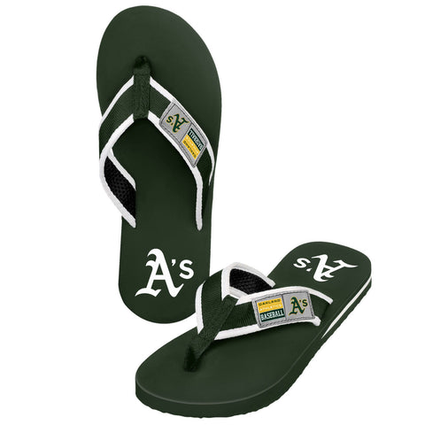 Oakland Athletics Official MLB Locker Label Contour Thong Flip Flops