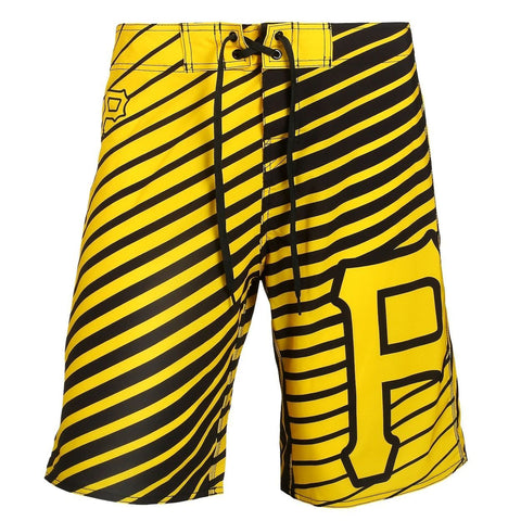Pittsburgh Pirates Official MLB Poly Stripes Swimsuit Boardshorts