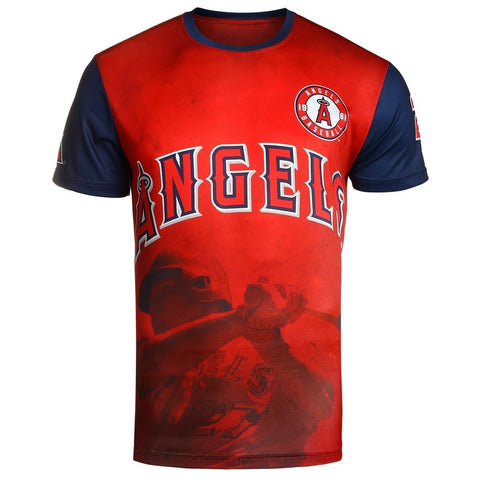 Los Angeles Angels M. Trout Official MLB Watermark Player Tee T-Shirt