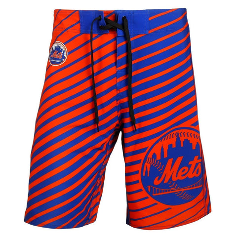 New York Mets Official MLB Poly Stripes Swimsuit Boardshorts